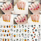 Halloween Punk 3D Nail Art Tip Skull Decal Wrap Water Transfer Sticker DIY 10Pcs