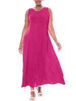 Woman Within maxi dress plus size 22/24 26/28 30/32 34/36 38/40 fuchsia crinkle