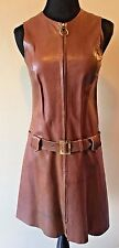 Vintage 1960s Brown Leather Ring Pull Zip Hip Belted Mod Mini Dress size S DS11