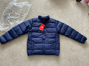 Bnwt The North Face Boys Blue 550 Jacket Coat Size L Age 12-14 Years New Rrp £90