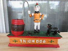 Vintage Cast Iron Coin Bank Trick Dog Jumps Through a Hoop 1950s Excellent