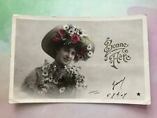 Glamour Big Hat Flowers Parisian Fashion Original Vintage Postcard