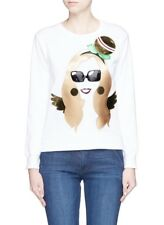 New Nil & Mon Anna Dello Russo APPLIQUÉ Metallic White Sweatshirt XS