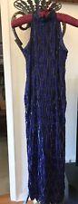 Vintage Stenay Womens Sz6 SILK BEADED PURPLE SEQUINS Evening Gown Dress PROM