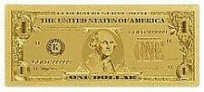 Gold Foil Banknote USA $1 Bill .999999 Currency Sleeve Included Shipped in USA