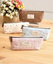 Flower Canvas Stationery Pencil Case Womens Makeup Bag Lovely Zipper Pouch Purse