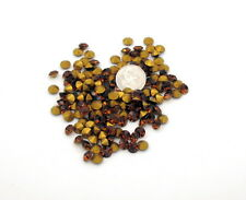 28ss Swarovski Rhinestones, 6mm , Smoked Topaz, Gold Pointed Backs, (24) each
