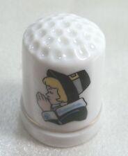 Vintage  Collectible Souvenir Thimble Porcelain Pilgrim Female
