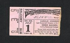 1961 Harold Johnson vs Eddie Machen boxing ticket Feldman Hauser Manning Alford