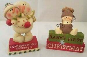 """Blossom Bucket Baby's First Christmas & Love Lives Where Mommy Is Figurines 3.5"""""""