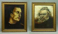 *Antique 1800/1900's Lot of 2 Russian School O/C Portraits Impressionist Manner
