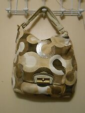Coach Kristen Graphic Optic Art Hobo Handbag Khaki #14860 NWT