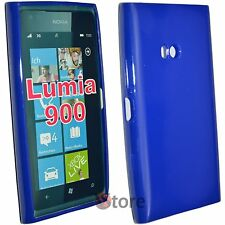 Cover Custodia Per Nokia Lumia 900 Blu Pastello Gel Silcone TPU