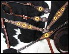 Showman Hand Painted Sunflower Single Ear Headstall & Breast Collar Tack Set