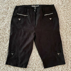 Jamie Sadock Micro Crunch Textured Knee Capri Pants Womens Size 10 Black Golf