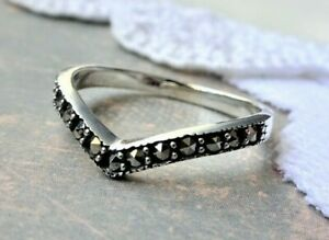 My S Collection 925 Sterling Silver Marcasite Contemporary Pointy RING