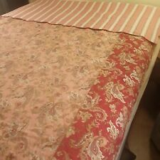 Williams Sonoma Twin Coverlet Quilt Red Pink Paisley Striped reverse Scalloped