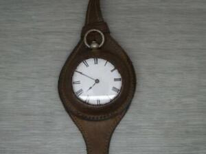 Original Antique WW1 vintage leather Wrist Watch Strap & Silver Pocket Fob Watch