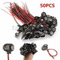 50x 9V Battery Connector Snap Clip T Style Cable Wire Lead 9 Volt Holder Lot ❤