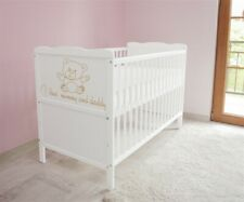 New White Wodden Baby Cot Bed 120 x 60 cm /mattress/ teething rails - RRP £119