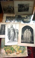 8 Large ANTIQUE ENGRAVINGS & LITHOGRAPHS Lot Best Offer