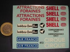 DECALS DIVERS PUB DINKY CHEVAL BLANC / PTT / SHELL / AIR FRANCE - T413
