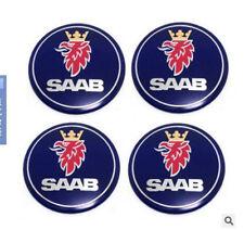 "4pcs SAAB Blue Wheel Center Hub Cap Stickers 65mm 2.56"" Emblem Badge Decal"