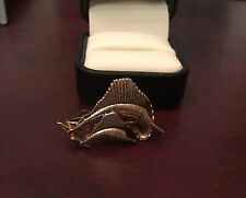 Vintage Hickok Flying Marlins Tie Clasp Gold Tone