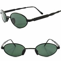 Classic Genuine Vintage Retro 80s Mens Womens Black & Green Lens Oval Sunglasses