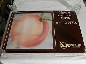 """*READ* 1980 Poster 35x23 REPUBLIC AIRLINES """"Have a Sweet ole Time"""" ATLANTA GA"""