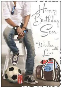 "Jonny Javelin Son Birthday Card - Man, Phone, Football & Sports Bag 9"" x 6.25"""