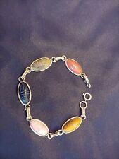 Vintage Carved Scarab Multi Stone 12k Gold Filled Bracelet Jewelry