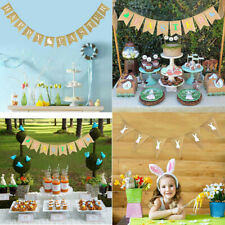 Party Decoration Linen Pennant Bunting Banner Rabbit Easter String Flag