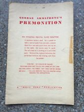 (H) Rare Vintage Card Magic Trick Premonition By George Armstrong