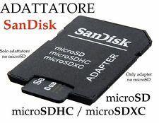 LETTORE MEMORIA SANDISK x MICRO SD SDHC SDXC CONVERTITORE ADATTATORE fino 256GB