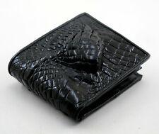New Black Genuine Leather Crocodile Alligator Skin Mens Bi-fold Wallet