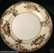 "MEITO CHINA MEI574 MEI628 BREAD & BUTTER PLATE 6 1/2"" GOLD FILIGREE FLORAL GREEN"
