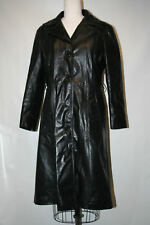 VTG 60's 70's Full Length Trench Leather Coat Black Long Duster Women's SZ 15 L