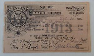 1913 California, County of San Francisco Poll Tax Receipt