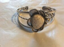 WHITE TURQUOISE FLOWER DESIGN SILVER CUFF WILL FIT NICELY 6 To 9 INCH WRIST