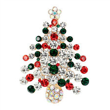 1X Unisex Crystal Rhinestone Brooch Christmas Tree Brooch Pin Christmas Gift Xr
