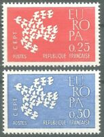 FRANCE EUROPA  YT n° 1309 et 1310 Neufs ★★ luxe / MNH 1961