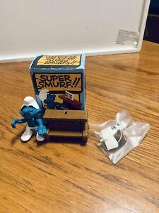 Smurfs Piano Super Smurf Playing on Stool Rare Vintage Display Figurine NEW