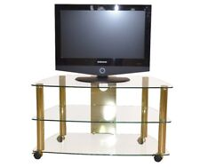 Hifi-Rack mit Rollen TV Phonowagen Regal Fernsehtisch Rollbar Messing