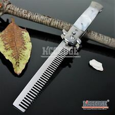 "9"" STILETTO Automatic Switchblade PUSH BUTTON FOLDING COMB WHITE Mother Of Pearl"