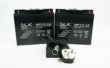 2 x 12v 17AH PRIDE GO GO ELITE TRAVELLER  PLUS BATTERIES & CHARGER BUNDLE