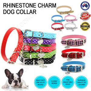 Plaid Check Polka Dot Leather Collar Rhinestone heart Charm Pet Dog Puppy Cat