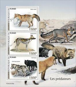 Chad - 2021 Predators, Red Fox, Gray Wolf - 3 Stamp Sheet - TCH210105a