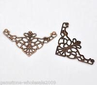 50PCS Wholesale Lots Craft Copper Tone Filigree Triangle Wraps Connectors 50