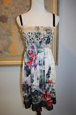 ANTHROPOLOGIE Lapis Dress Smocked Convertible S M L Crinkled  One Size